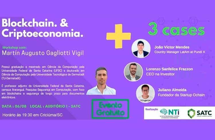 Workshop sobre Blockchain e criptoeconomia acontecerá em Criciúma