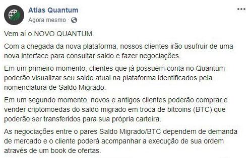 Comunicado da Atlas sobre sua nova plataforma Novo Quantum