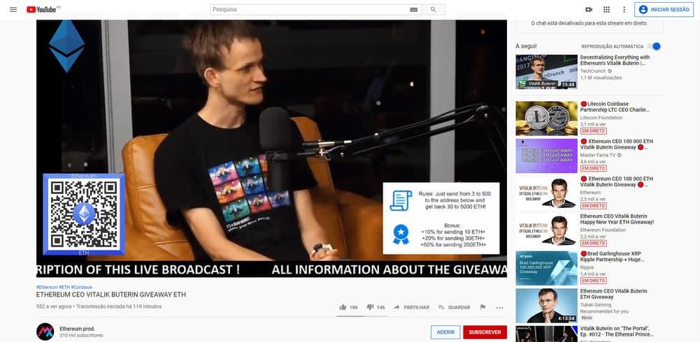 Para o golpe em questão, vídeos envolvendo Vitalik Buterin eram exibidos