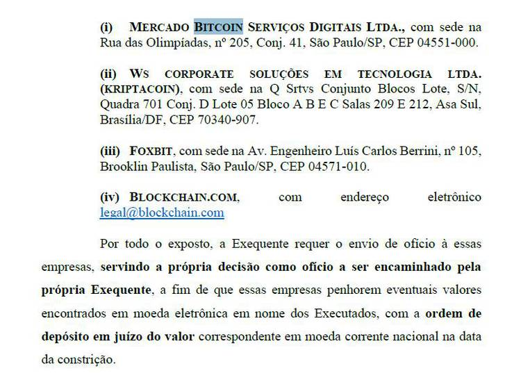 ofícios para as empresas mercado bitcoin, foxbit, blockchain.com