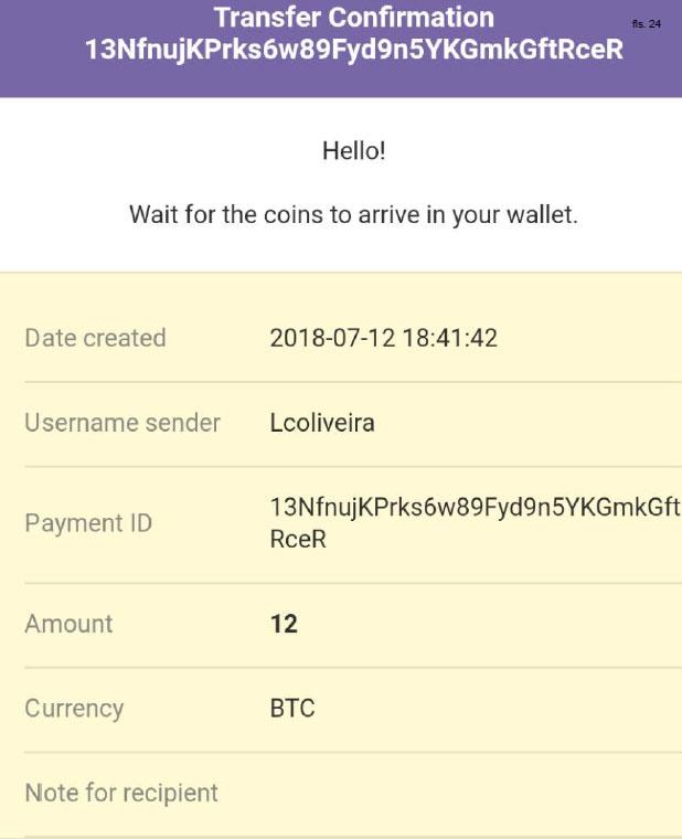 comprovante de envio de Bitcoin no processo,
