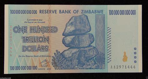 histórica nota de 100 trilhões de dólares