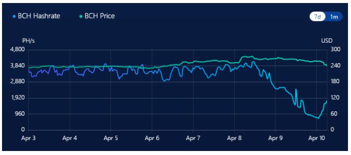 a taxa de hash do Bitcoin Cash caiu de quase 4.200 pentahashes por segundo (PH/s) para apenas 720 PH/s dentro de dois dias após o halving
