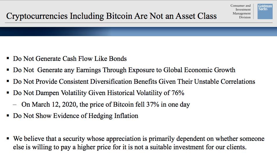"""o já batido argumento de que """"criptomoedas não geram fluxo de caixa nem renda"""" também foi utilizado pelo Goldman"""