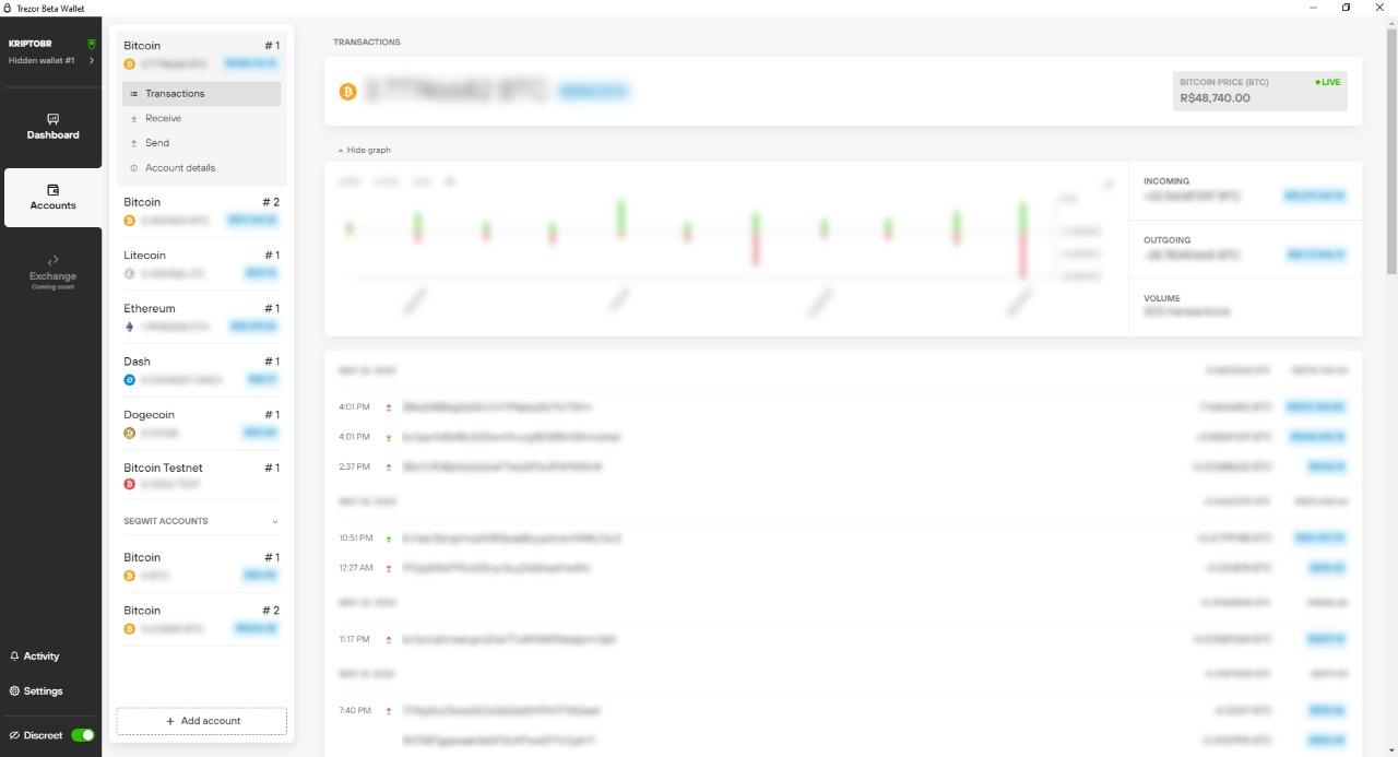 a Trezor está aproveitando para coletar o retorno dos usuários.  O aplicativo está com uma interface simples de utilizar, prezando pela facilidade ao usuário