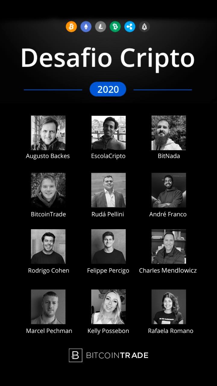 os 12 especialistas do desafio participarão da live que será realizada às 19h no Instagram da BitcoinTrade.
