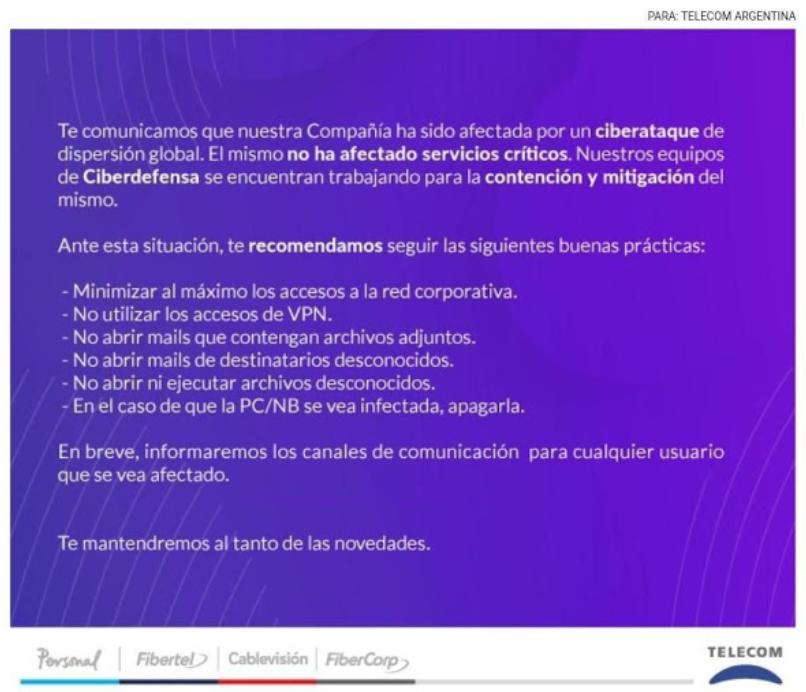 comunicado telecom argentina
