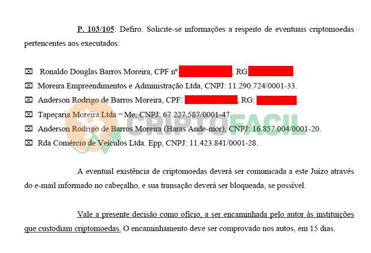 Ofício buscando criptomoedas da pirâmide financeira RDA
