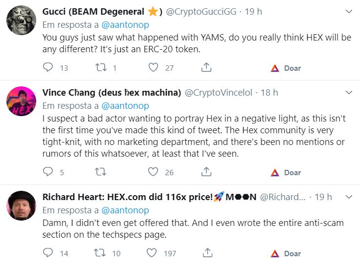 Comentários sobre o tuíte de Antonopoulos