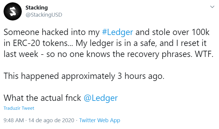 Investidor relata invasão de seu livro-razão no Twitter