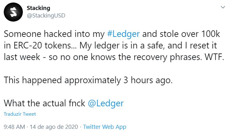 Investidor relata hack da sua Ledger no Twitter