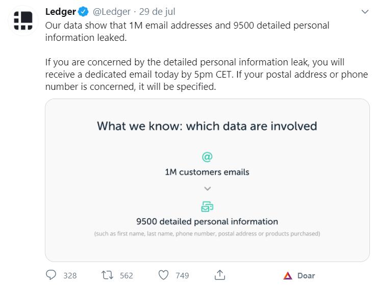 Ledger se manifesta sobre o vazamento de dados