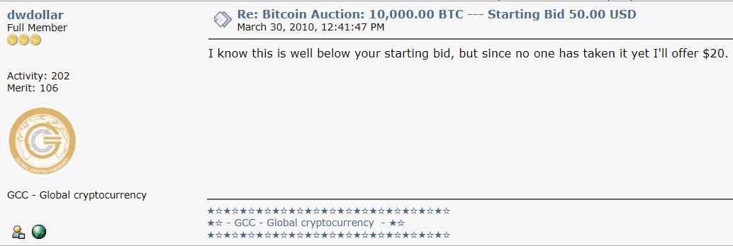Oferta de 20 dólares por 10.000 BTC