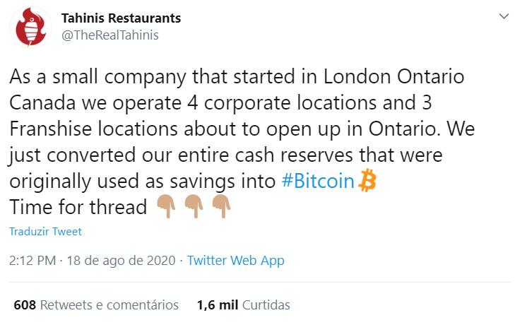 Tahini Restaurants converte suas reservas em BTC