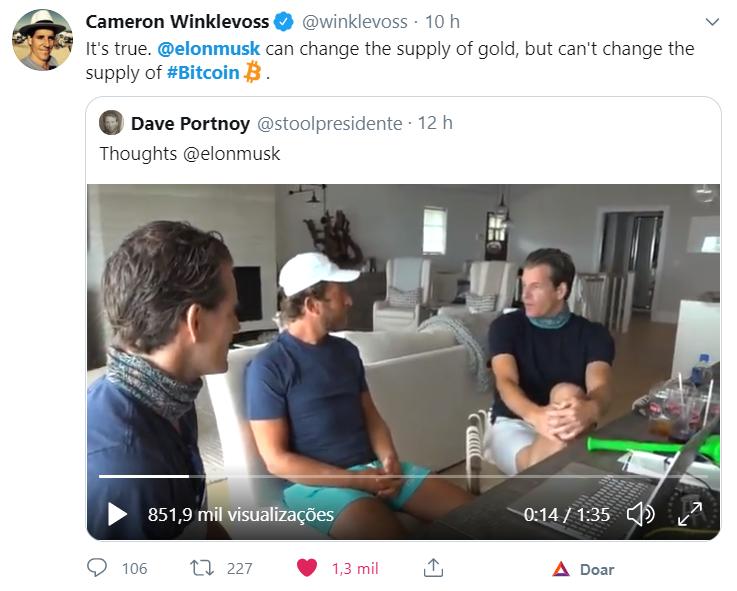 Tweet dos gêmeos Winklevoss sobre Elon Musk, Bitcoin e o Ouro