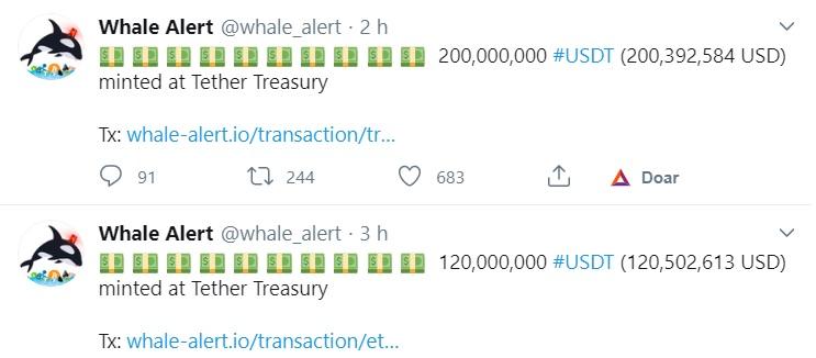 Whale Alert sobre o USDT