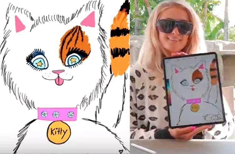 Paris Hilton vende por R$ 92 mil em Ethereum desenho digital de seu gato