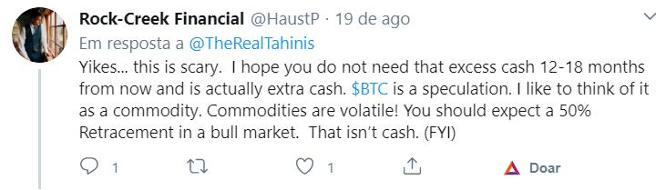 Crítica à decisão do Tahinis de investir no Bitcoin