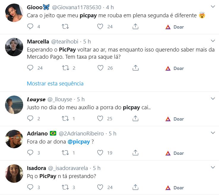 Reclamações sobre o PicPay dominam a manhã da segunda-feira