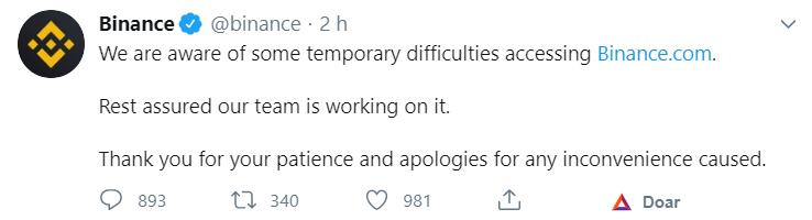 Tuíte da Binance sobre a falha técnica em 02 de setembro