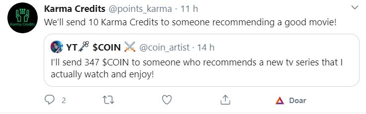 Tuíte sobre os Karma Credits