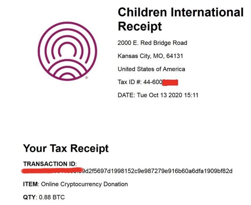 Children International Receipt