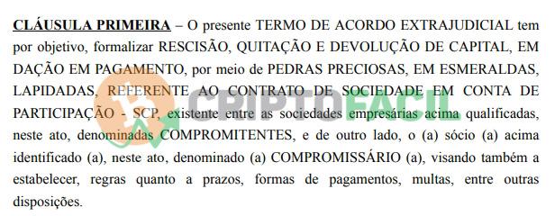 Primeira cláusula do acordo proposto pela G44