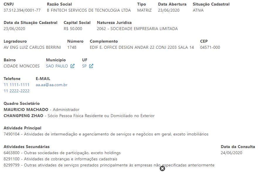 Suposta inscrição da Binance no Brasil
