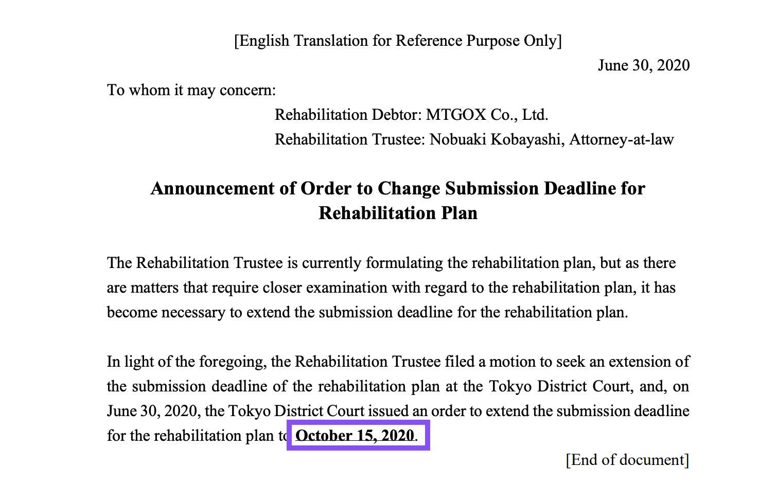 Carta sobre o plano de reabilitação dos BTC perdidos em 2013