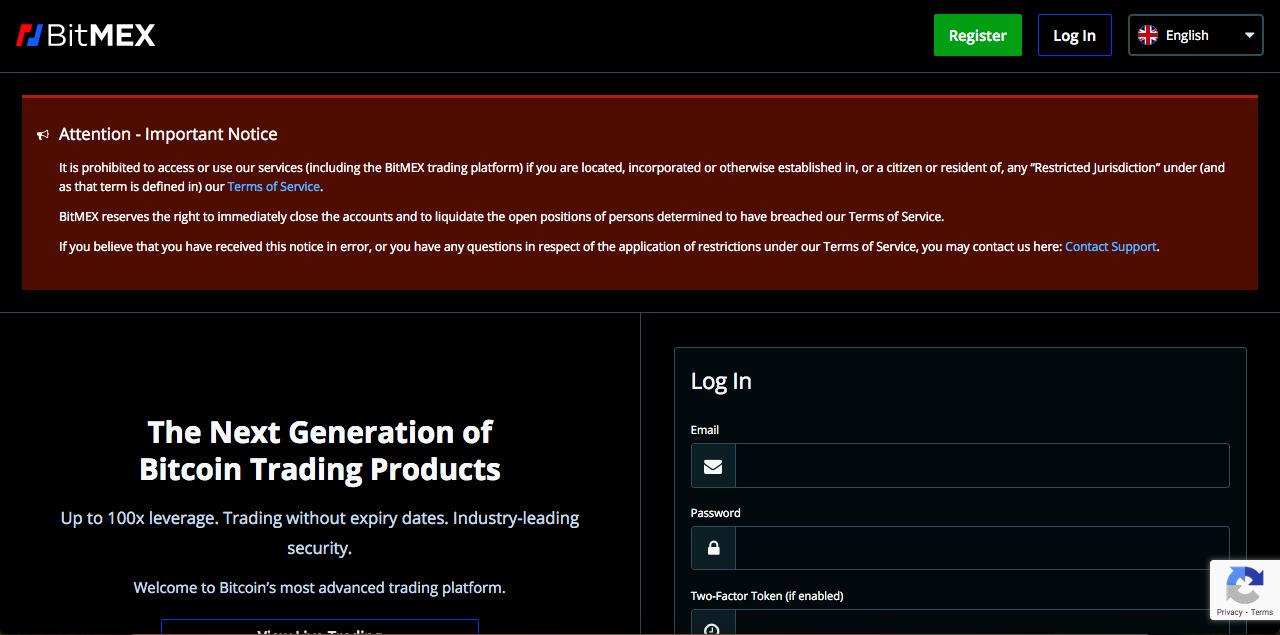 Imagem do aviso exibido nas jurisdições onde a BitMEX é proibida