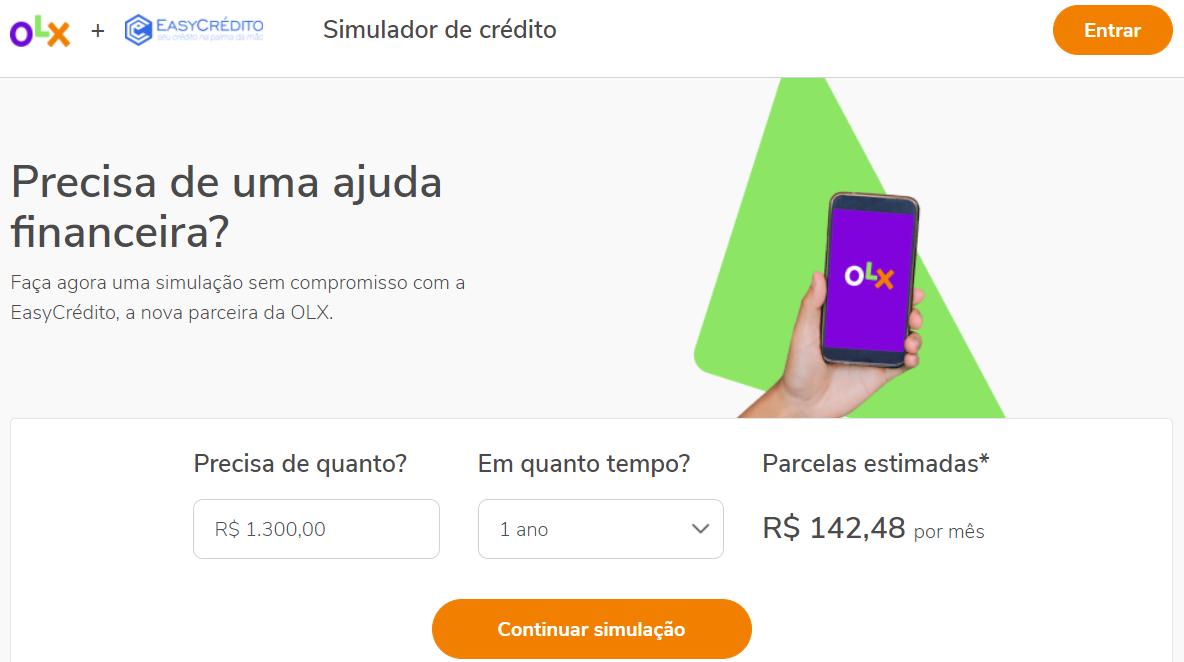 OLX permite a contratação de empréstimos