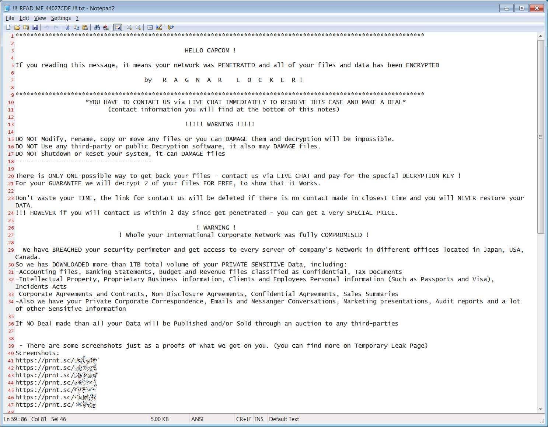 Nota enviada pelos hackers para a Capcom, segundo o Bleeping Computer