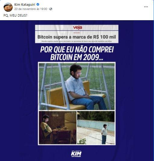 Kim Kataguiri lamenta não ter investido em Bitcoin