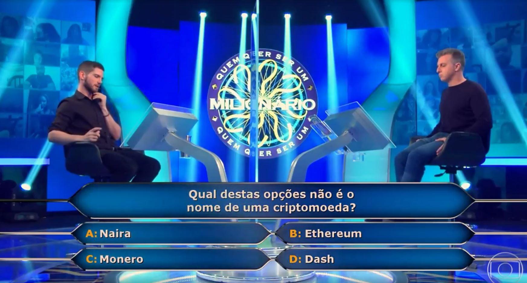 Pergunta sobre criptomoedas feita por Luciano Huck