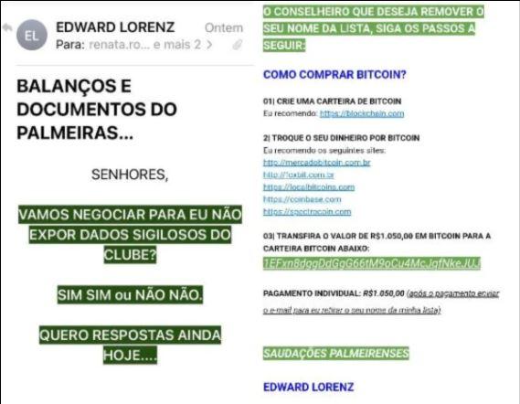 E-mail enviado aos conselheiros do Palmeiras pedindo BTC