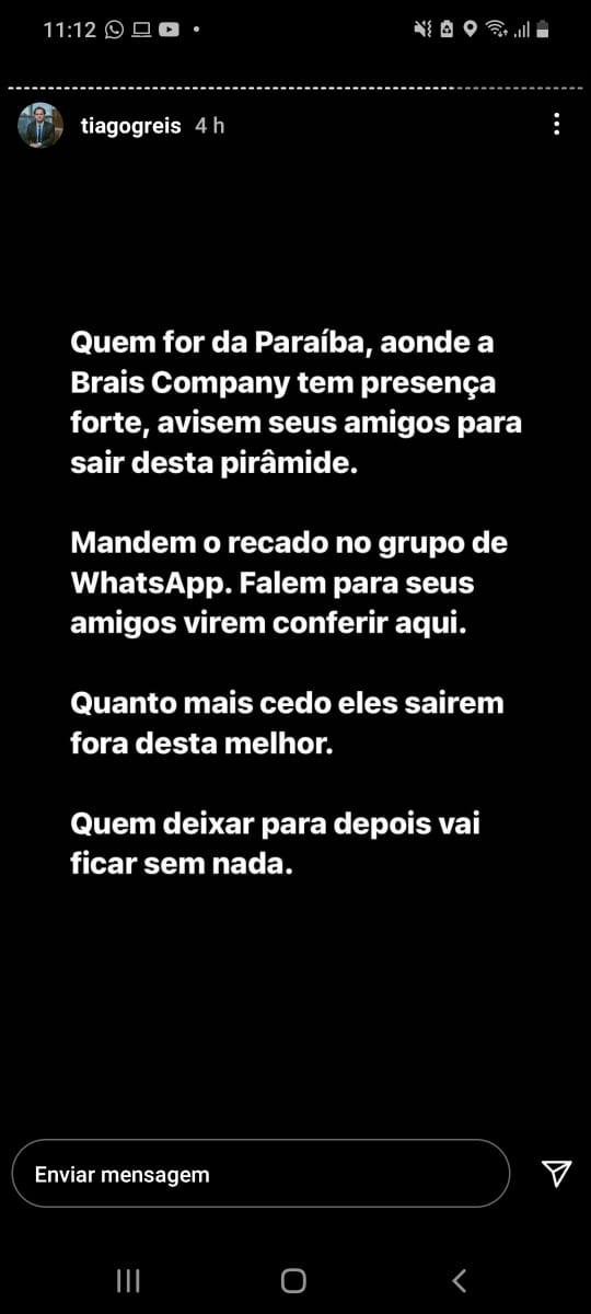 Alerta de Tiago Reis sobre a Braiscompany.