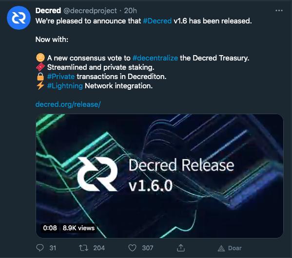 Anúncio da Decrediton v1.6