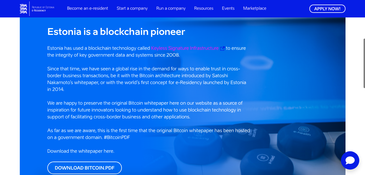 Estônia inclui white paper do Bitcoin em site oficial