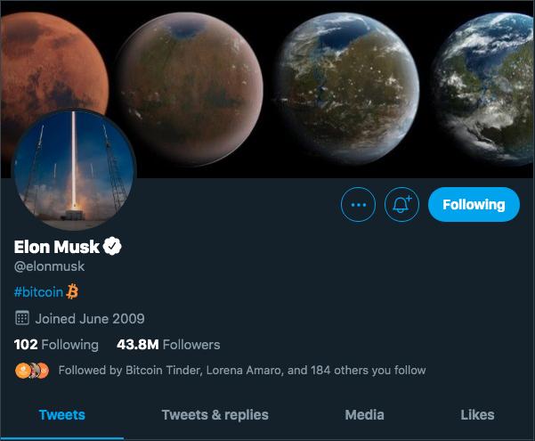 Elon Musk destacou o Bitcoin em sua bio