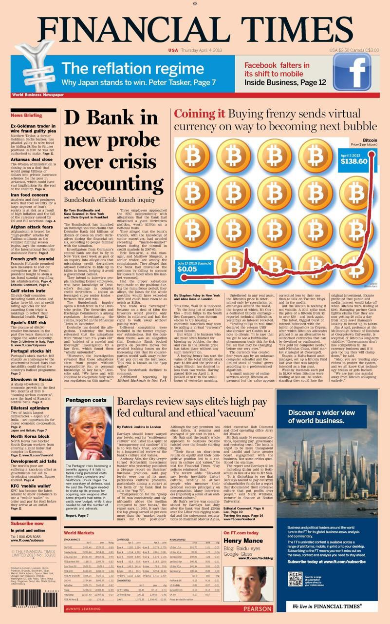 Matéria sobre Bitcoin no FT de 04/04/2013. Fonte: Financial Times