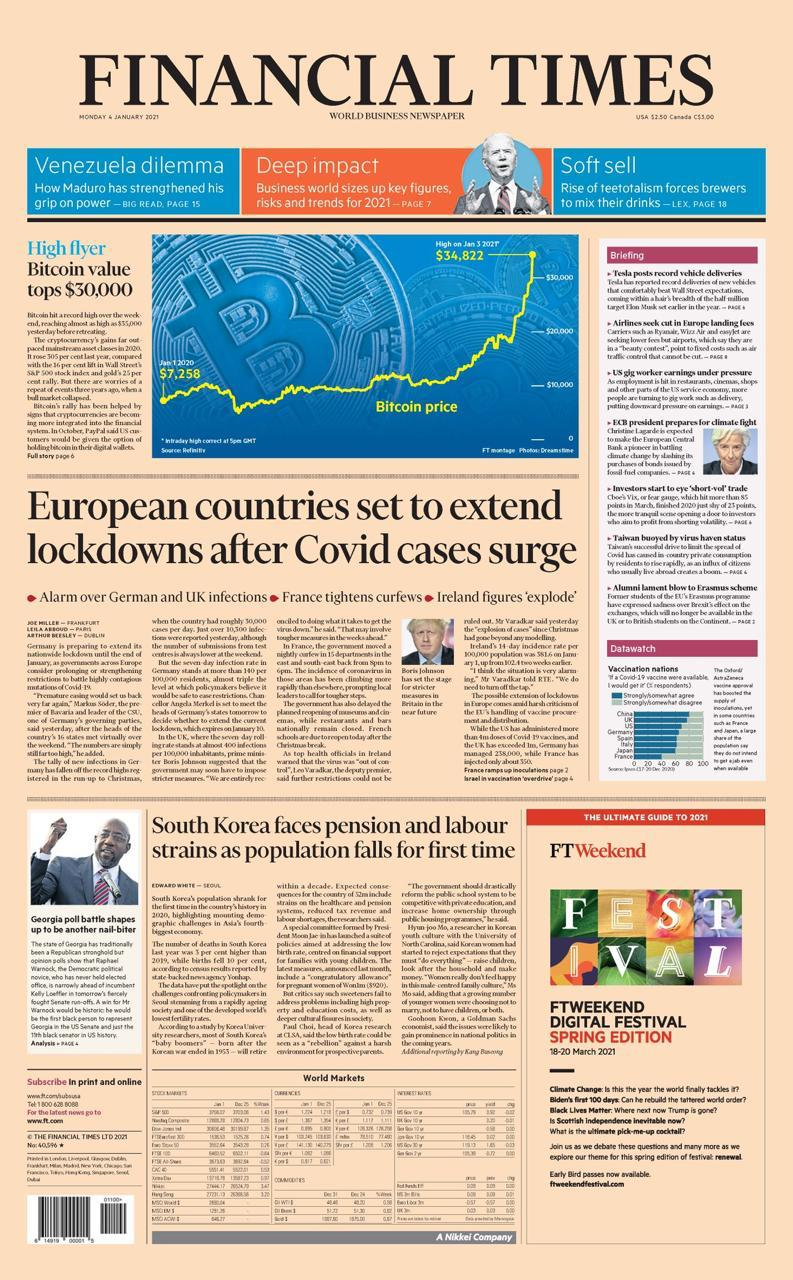 Capa do Financial Times de 03/01/2021. Fonte: Financial Times