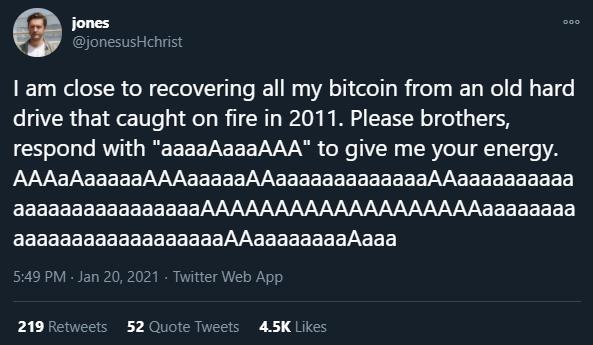 Jones fala sobre seus Bitcoins a serem recuperados