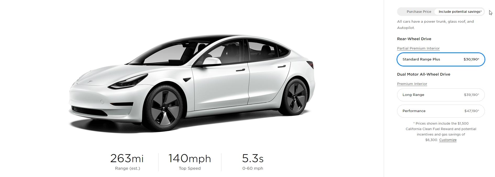 Preço do Tesla Model 3