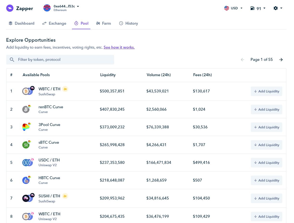 Plataforma Zapper listando os pools de liquidez