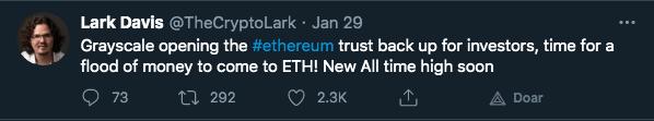 """Investidor """"previu"""" máxima da ETH com reabertura de fundo"""