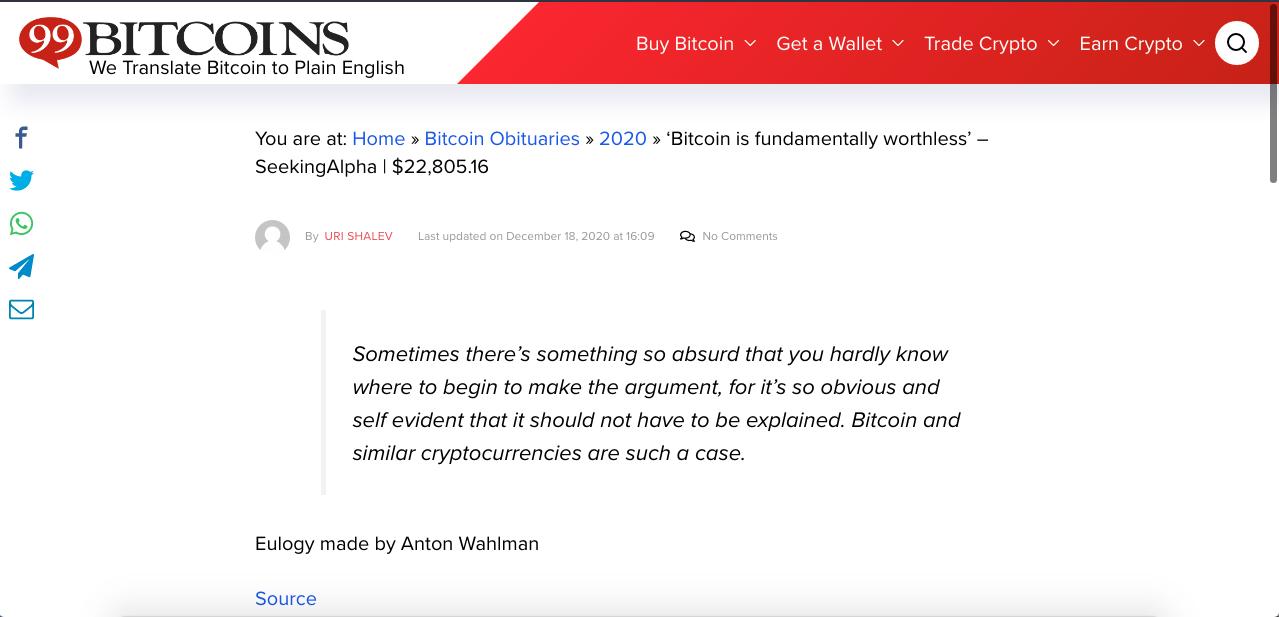 Casa de análise dos Estados Unidos criticou fortemente o Bitcoin