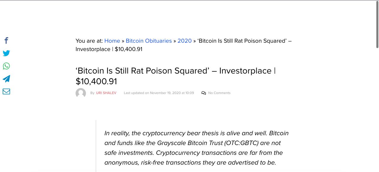 Investorplace usa frase de Warren Buffett para decretar sua morte ao Bitcoin