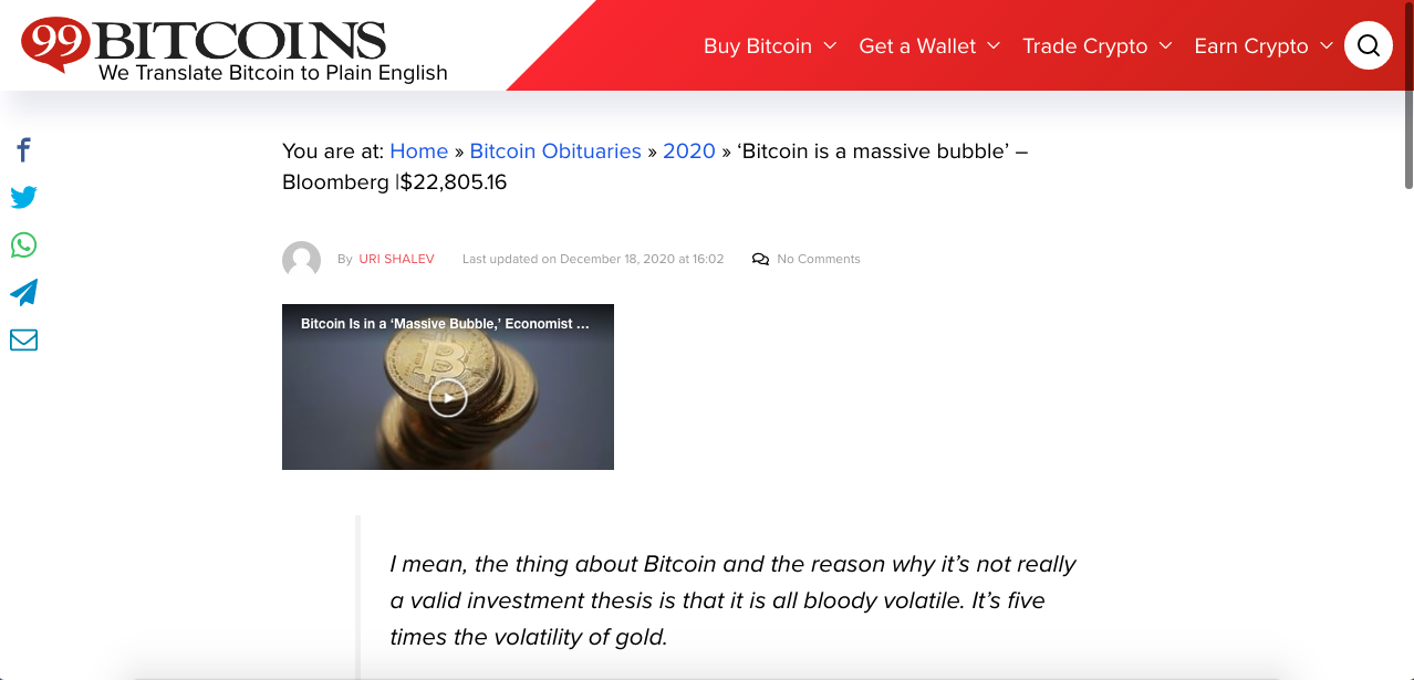 Até a gigante Bloomberg garantiu seu lugar nos obituários do Bitcoin