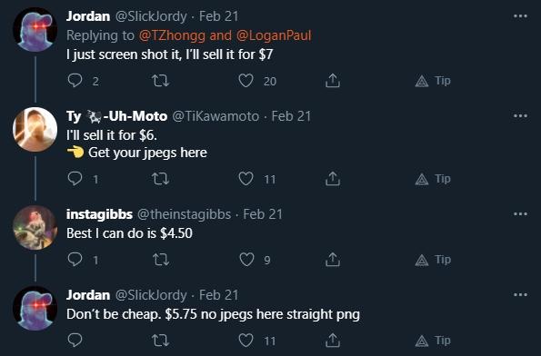 Usuários brincam sobre vender cópias dos NFTs. Fonte: Twitter