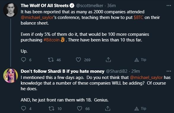 Scott Melker fala sobre entrada de novas empresas no mercado de criptomoedas. Fonte: Scott Melker/Twitter